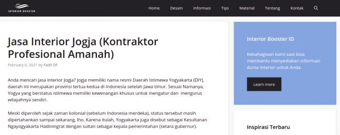 Website jasa interior Jogja